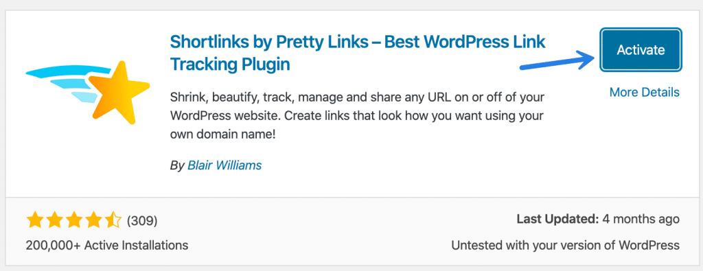 Activate Pretty Links WordPress plugin