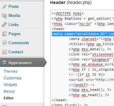 Adding BWT Meta Tag in WordPress Header