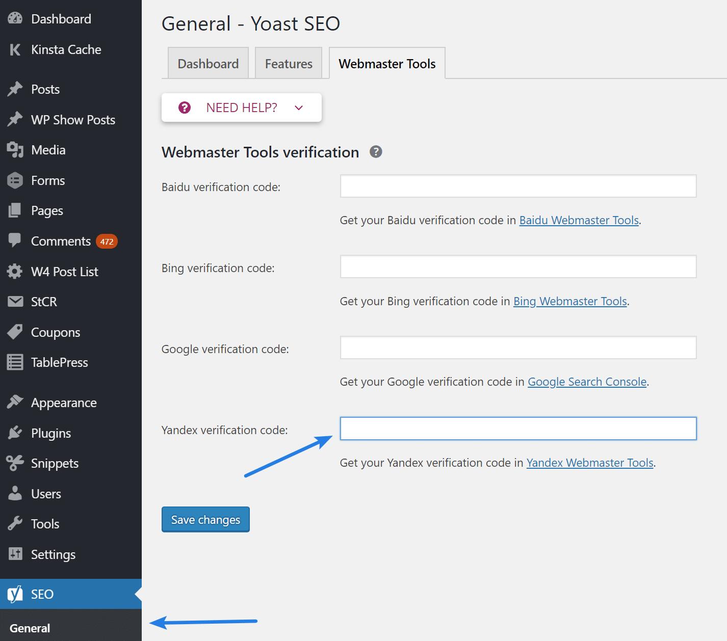Adding Yandex Meta Tag in WordPress