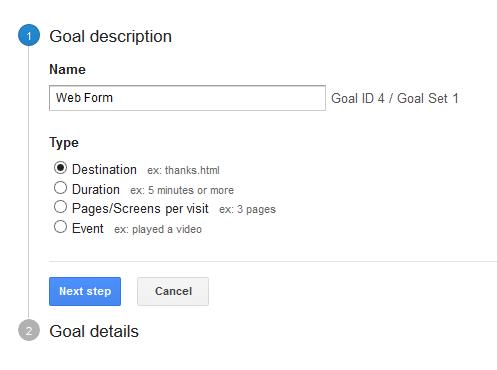 google analytics name goal