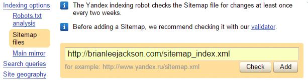 Yandex Add Sitemap