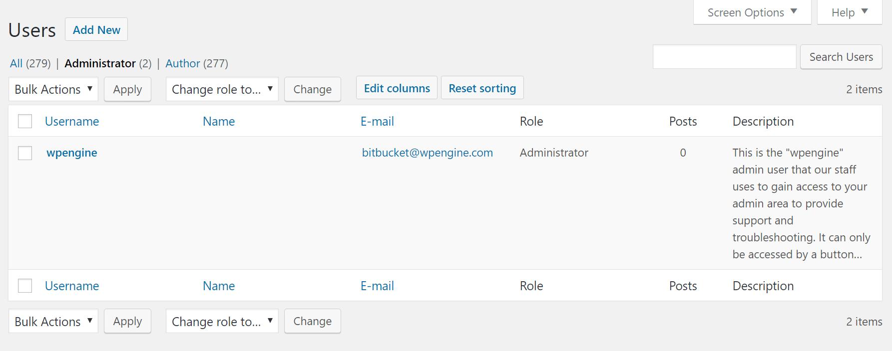 remove wpengine user in wordpress