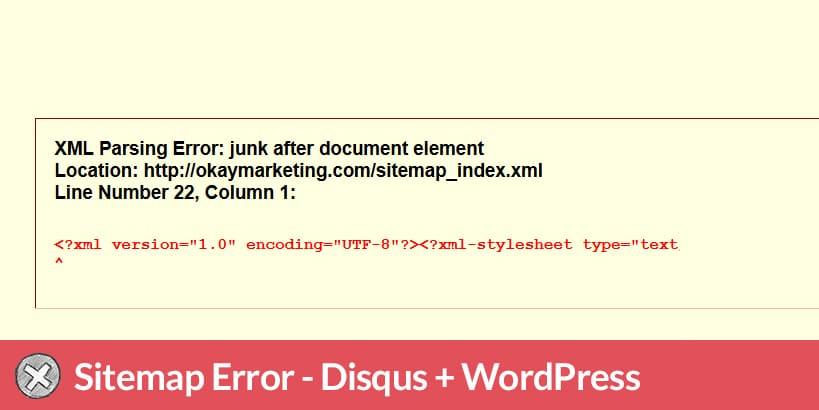 wordpress sitemap error