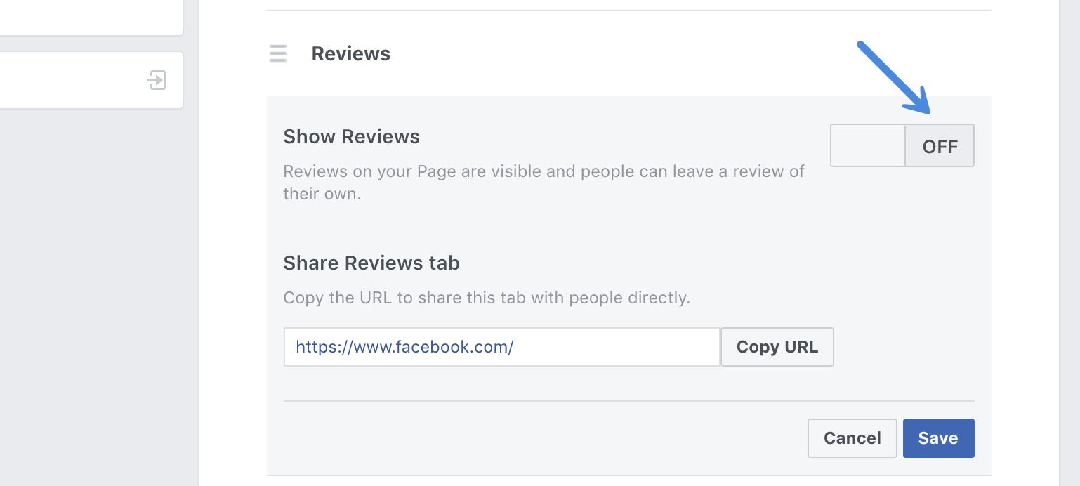 Turn off Facebook reviews tab