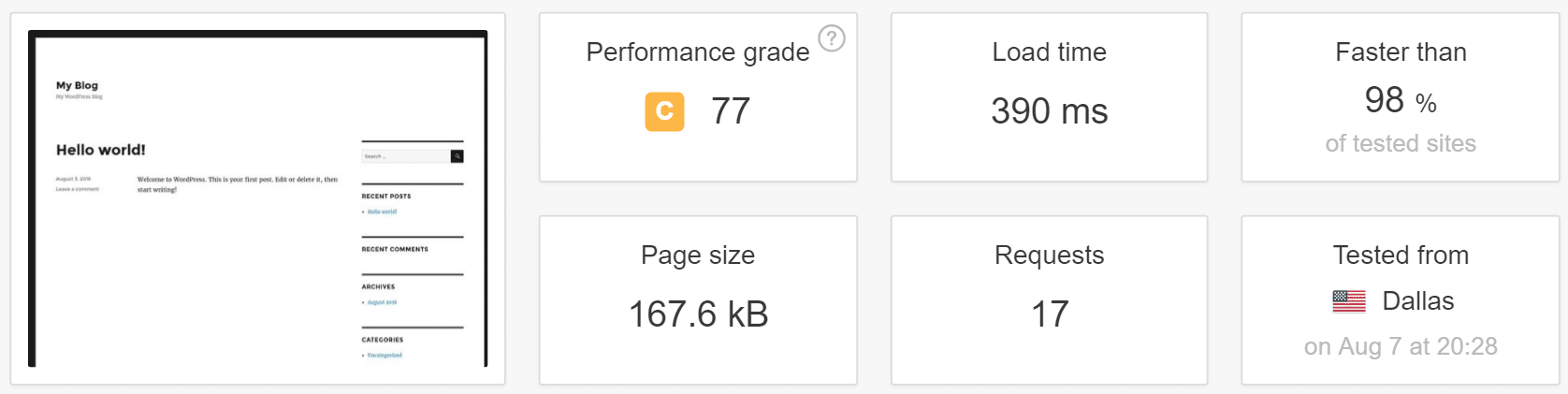wordpress speed with cache