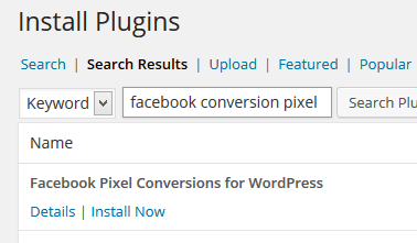 Install Facebook Conversion Tracking Plugin in WordPress
