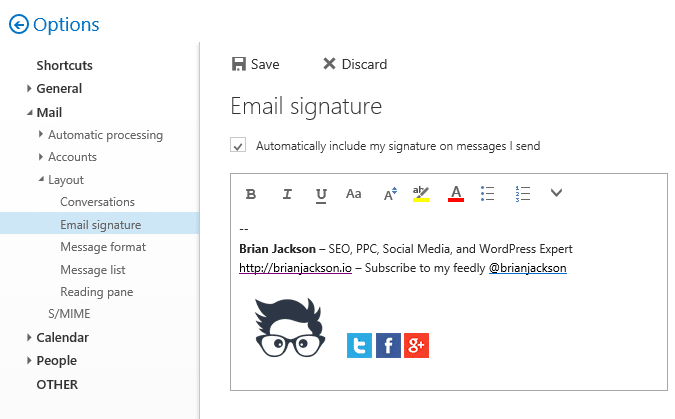 Outlook Web App Email Signature Block