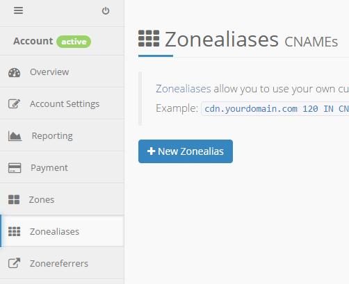 keycdn new zone alias