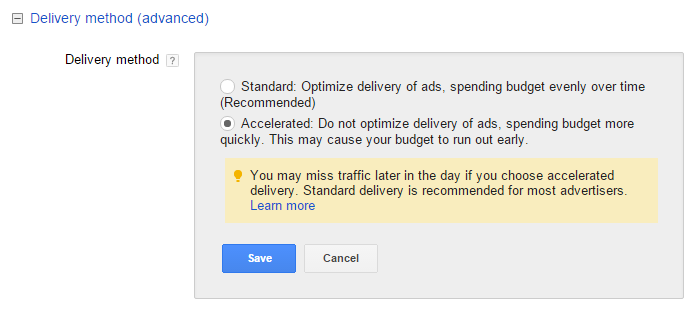 adwords accelerated delivery