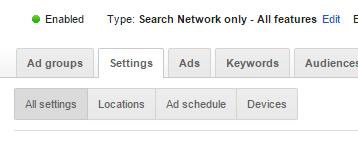 adwords all settings
