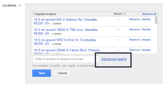 adwords locations advanced search