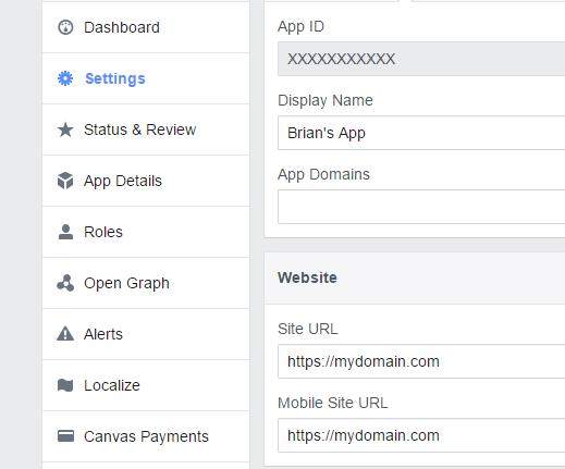 facebook app URL settings