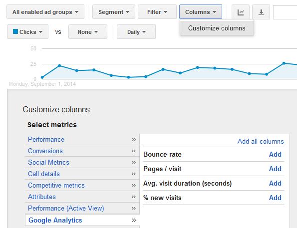 google analytics column