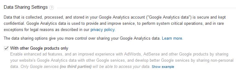 google analytics data sharing