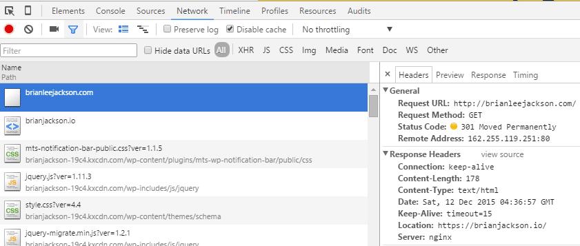 google dev tools 301 redirect