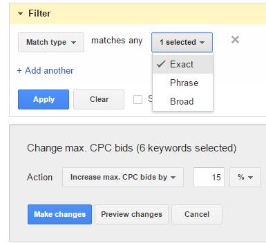 increase max cpc exact match