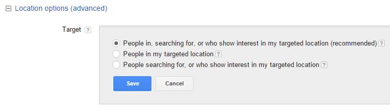 location target options