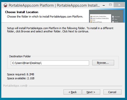 portableapps destination folder