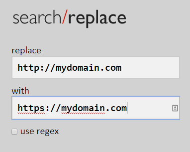 search replace http to https