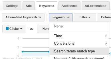 segment search terms match type