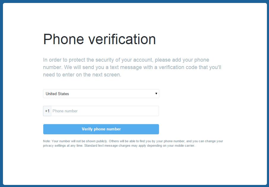 twitter phone verification