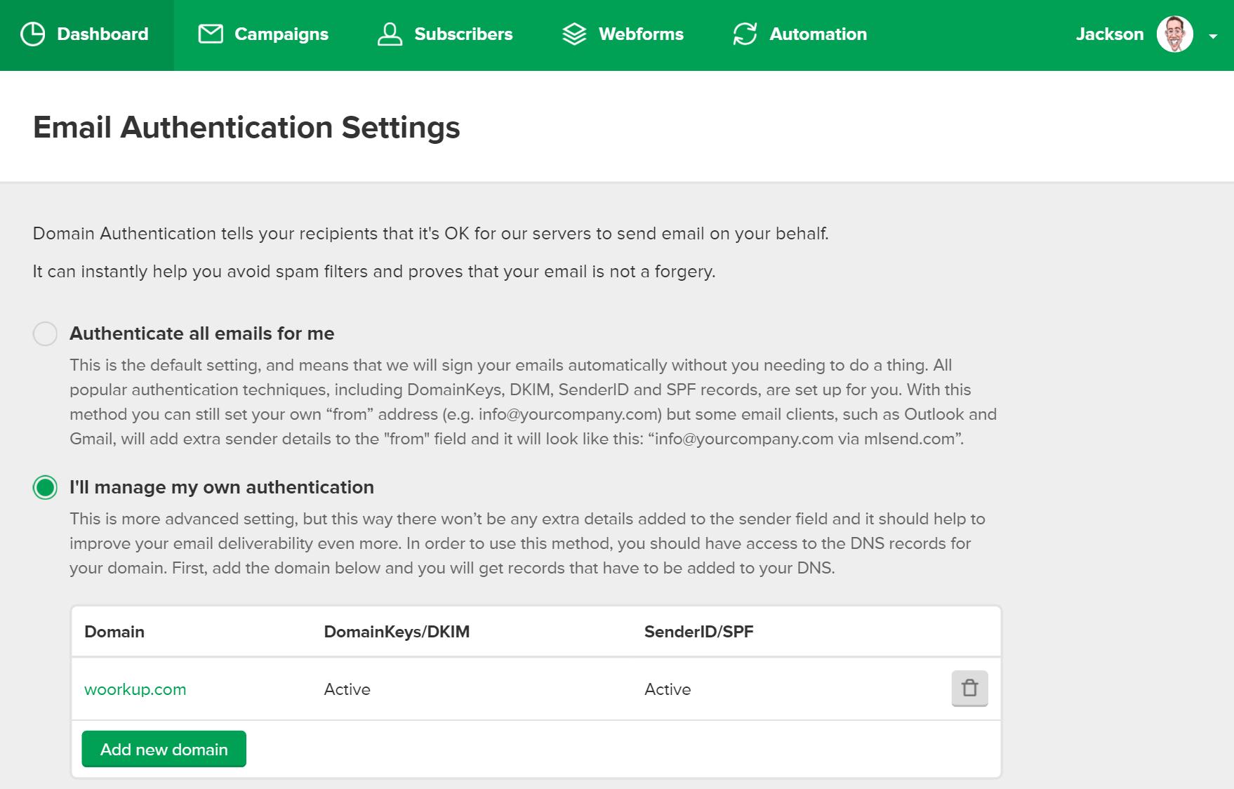 add domain authentication mailerlite