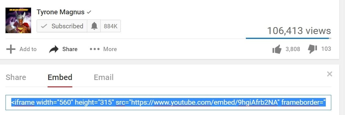 copy youtube embed