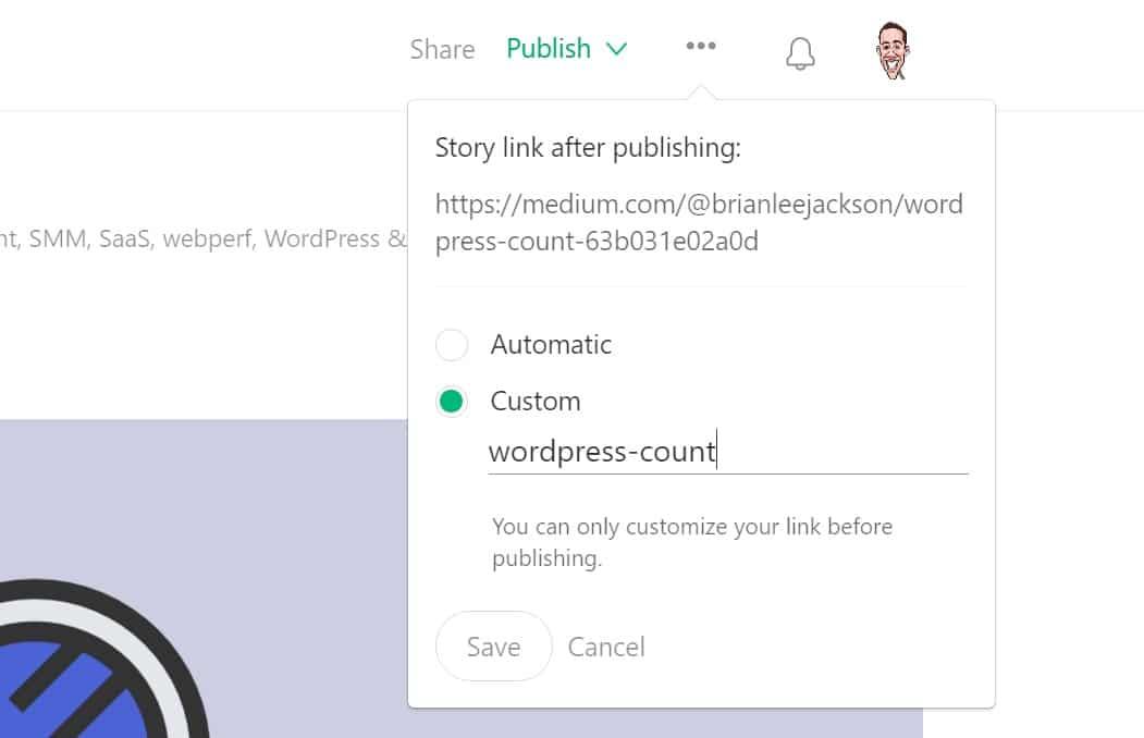 edit medium link url