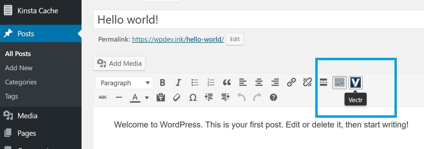 use vectors in wordpress post editor