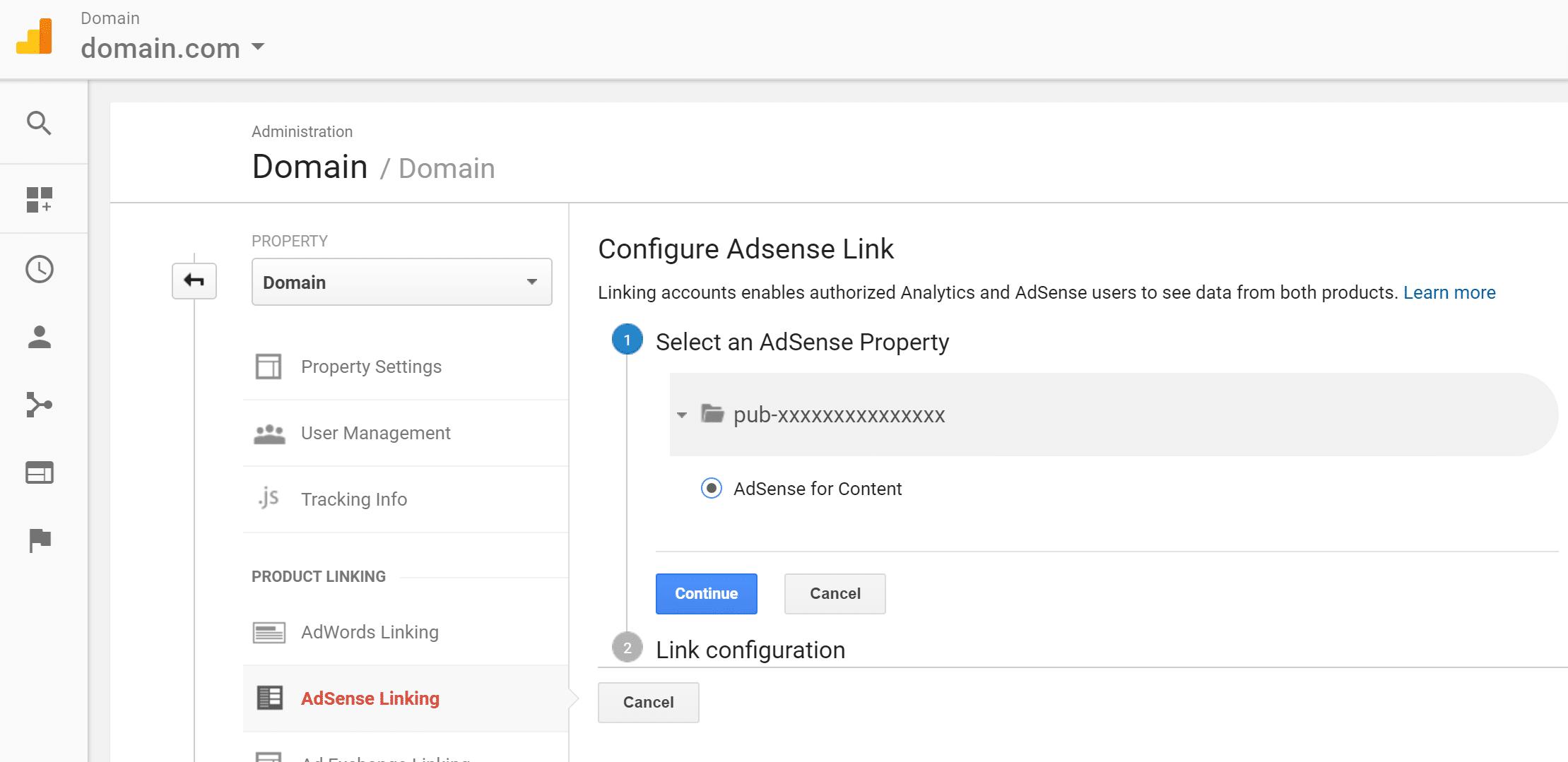 configure adsense link analytics