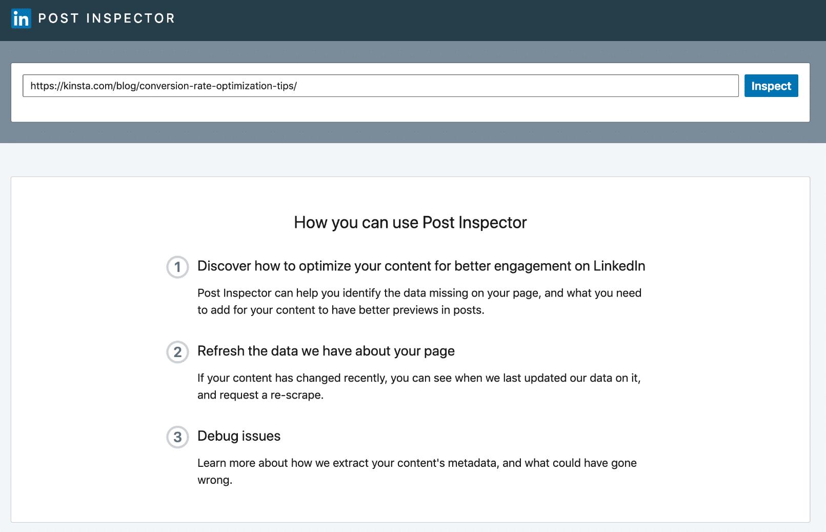 LinkedIn Post Inspector Tool