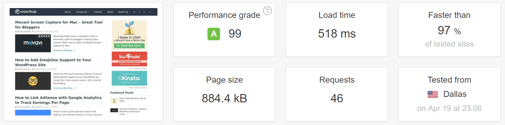 Speed test with system font stack