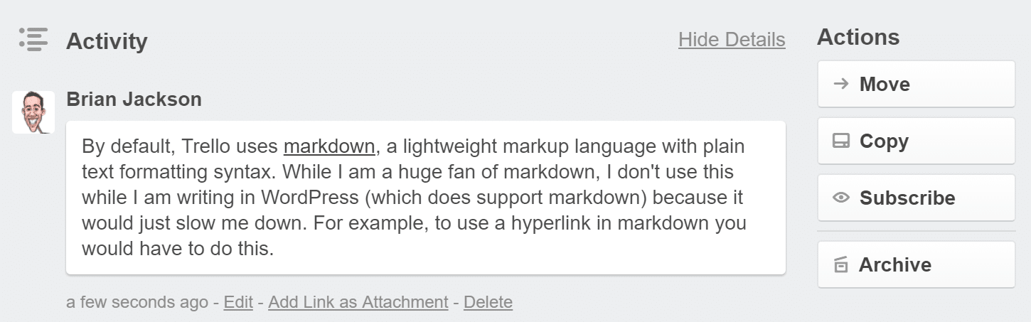 trello markdown with link