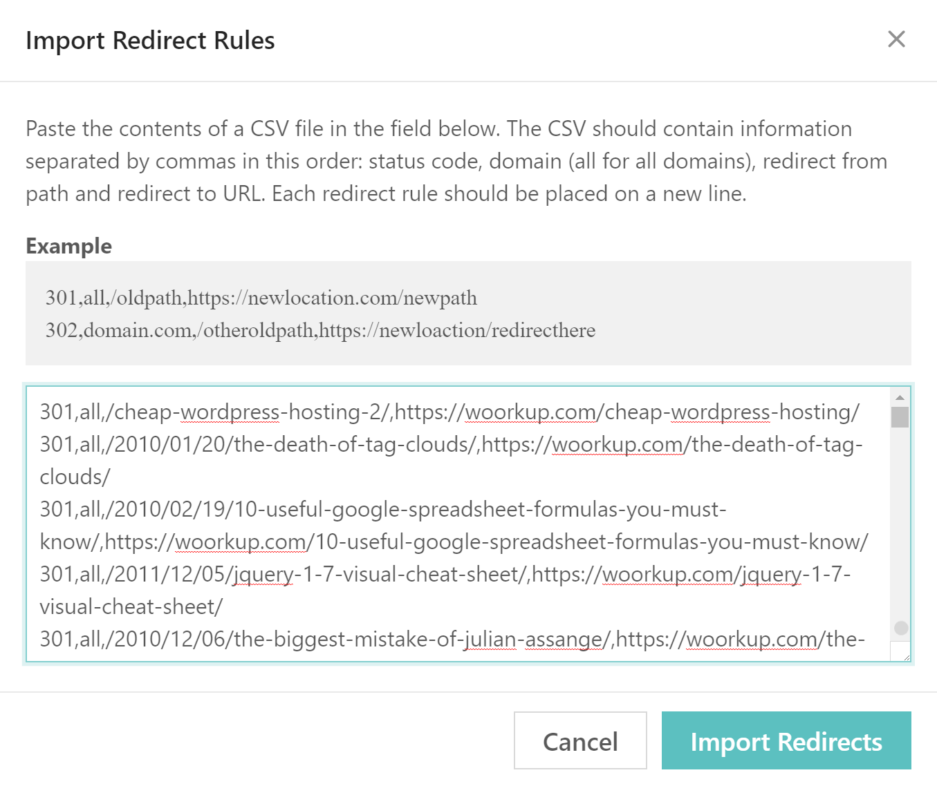 add wordpress redirect rules