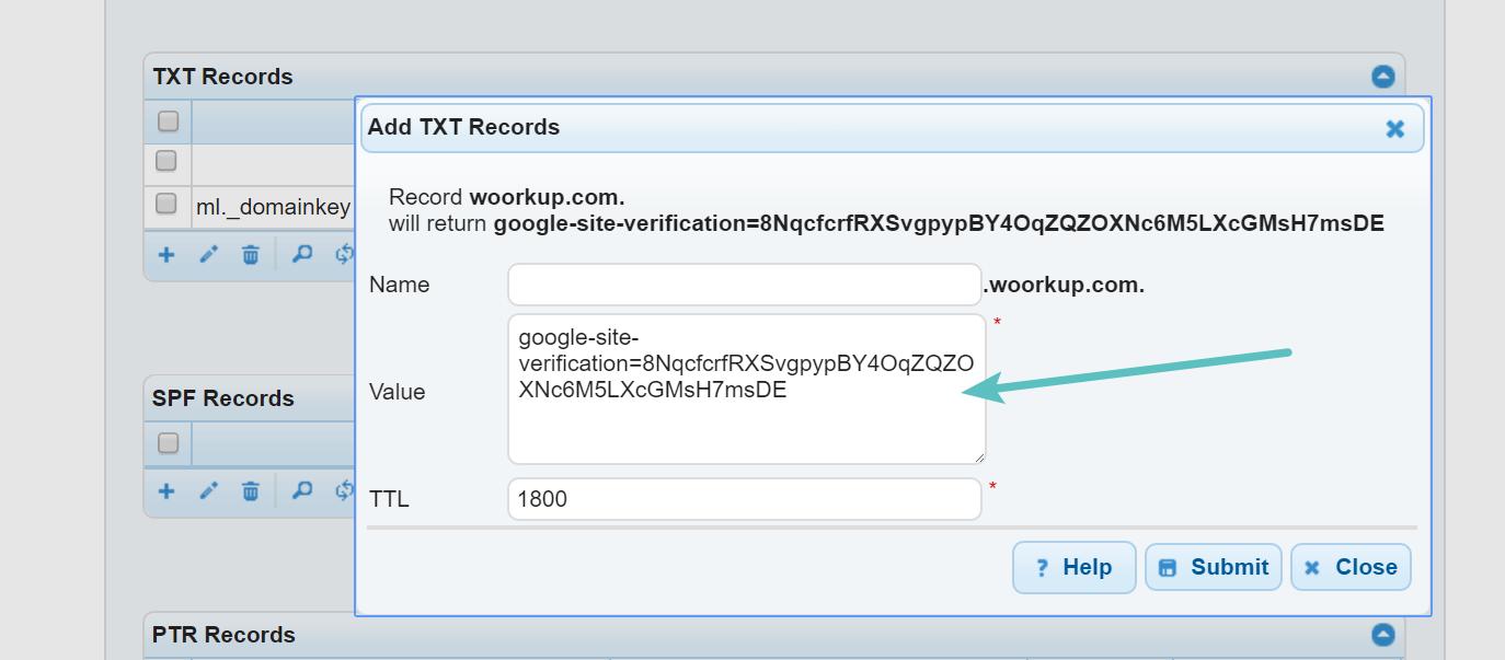 Add txt record site verification