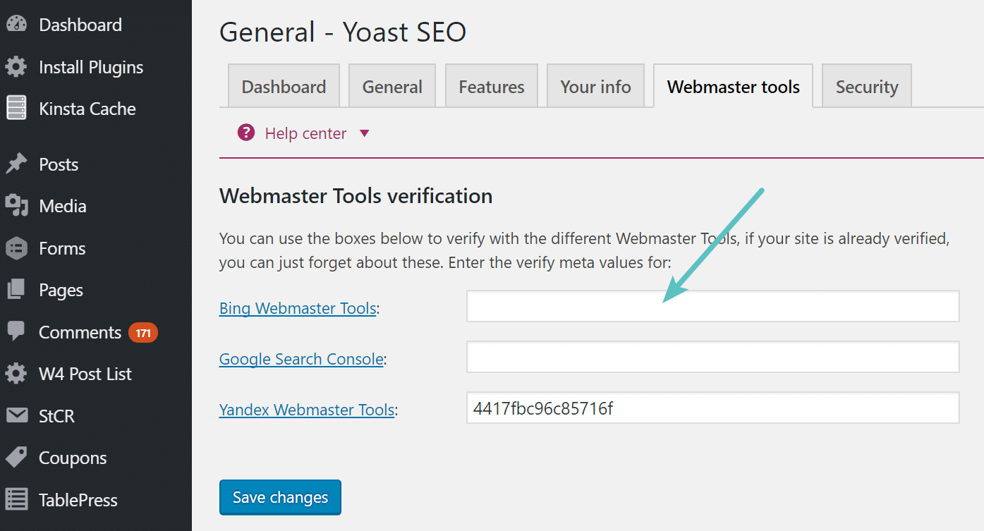 Clear header Bing Webmaster Tools