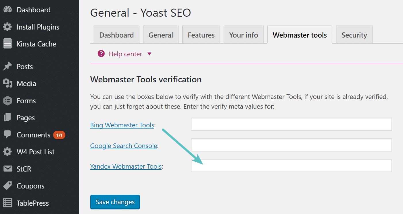 Clear header Yandex Webmaster Tools