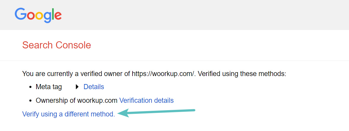 Google Search Console verify using different method