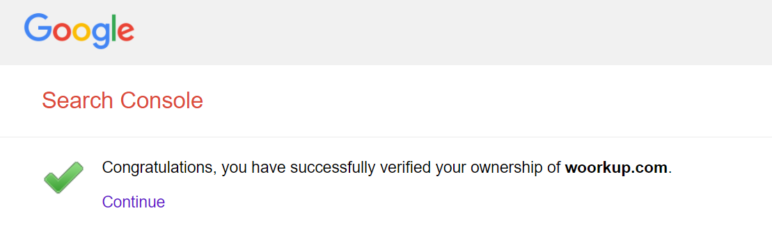 Successful DNS verification GSC