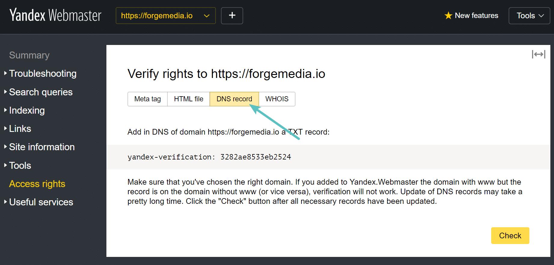 Yandex DNS record