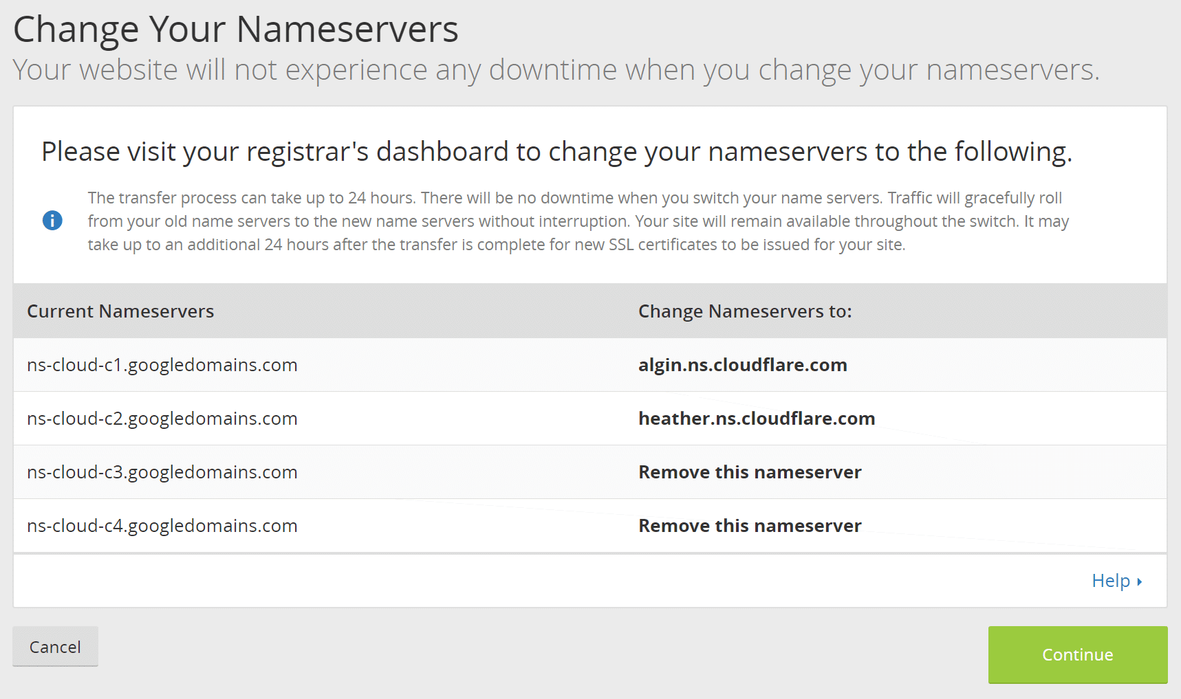 Change nameservers to Cloudflare