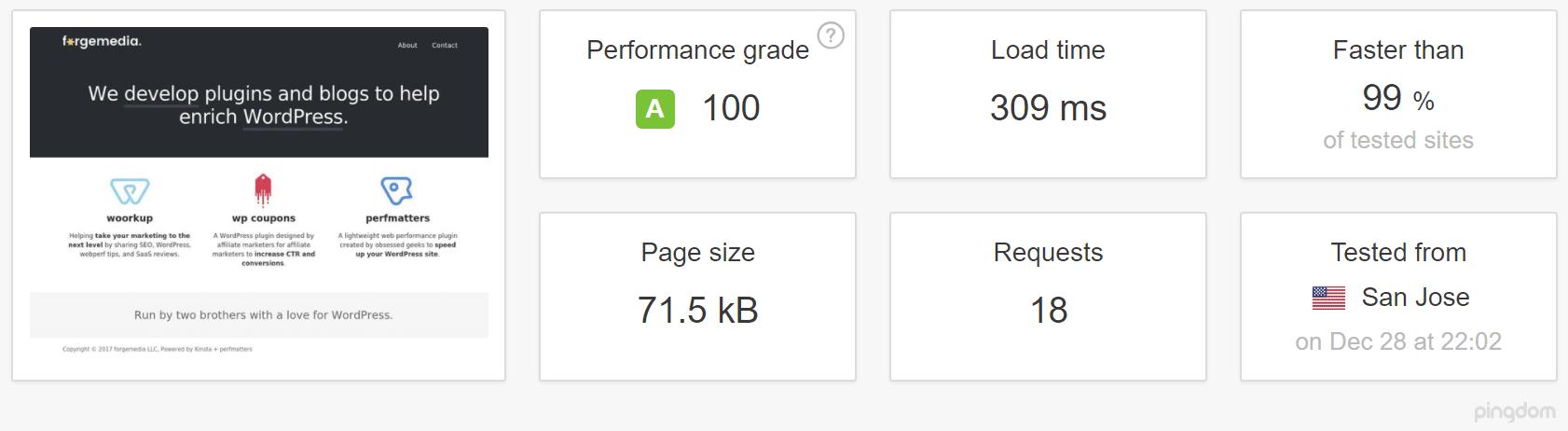 GeneratePress theme speed test