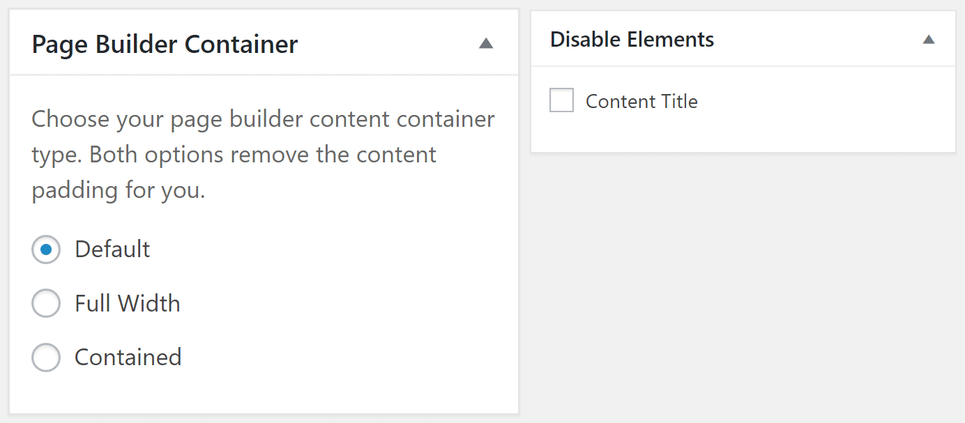 Page builder and disable elements