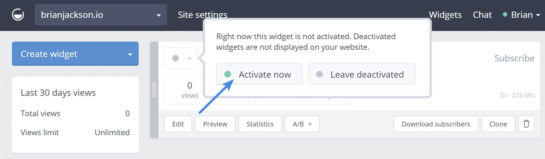 Activate widget