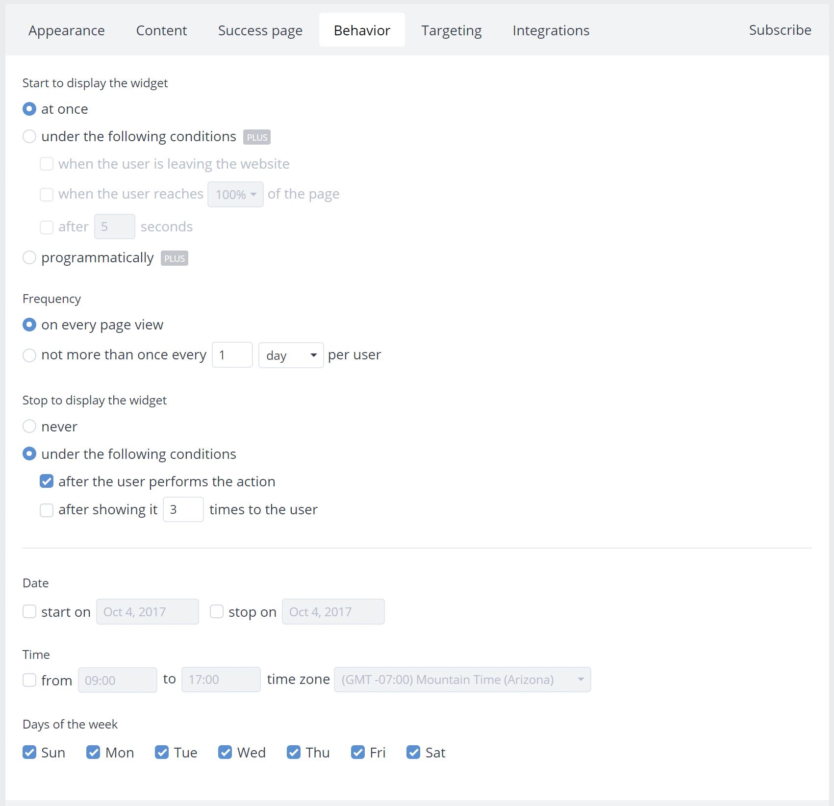 Subscribe widget behavior