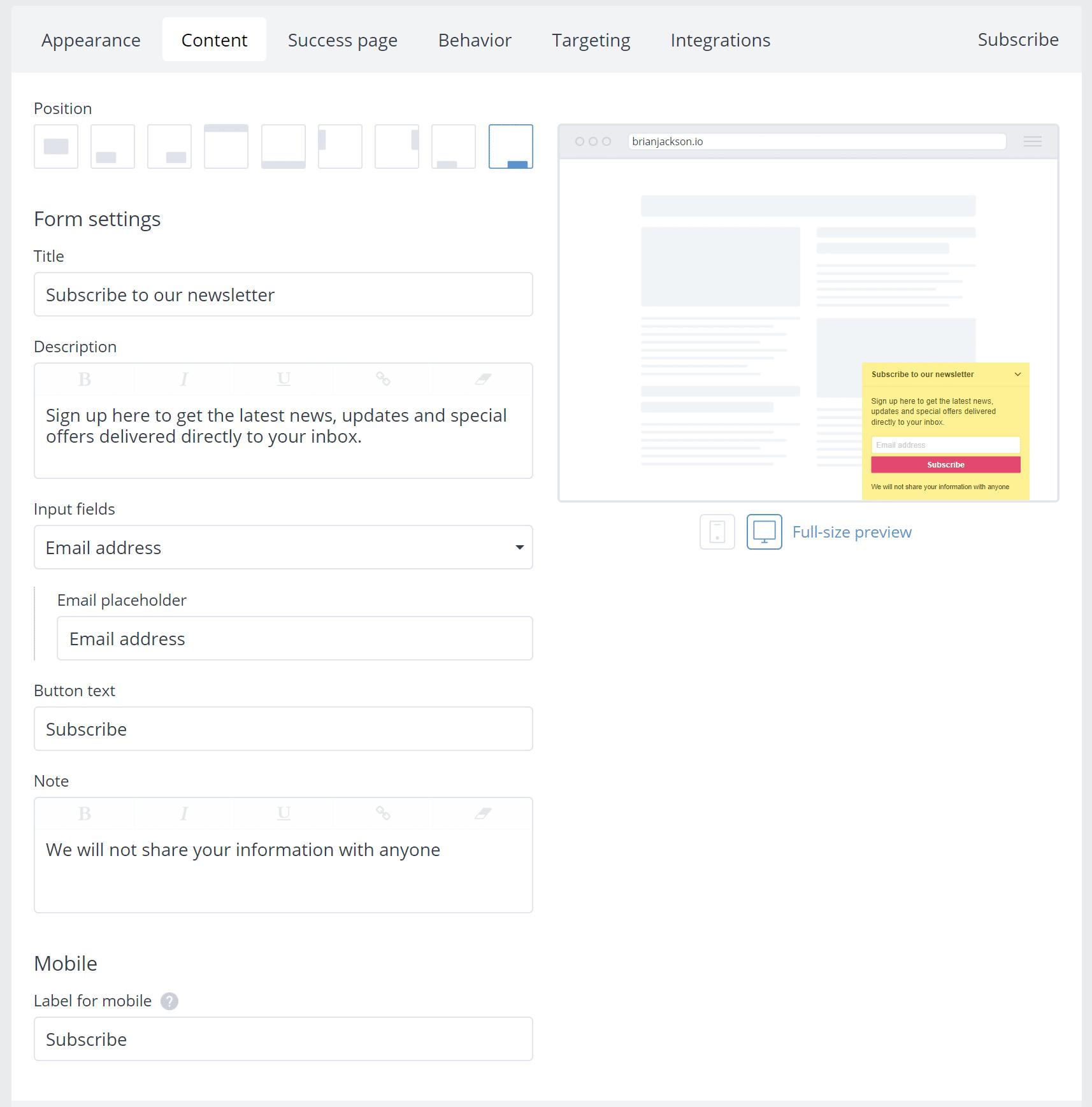 Subscribe widget content