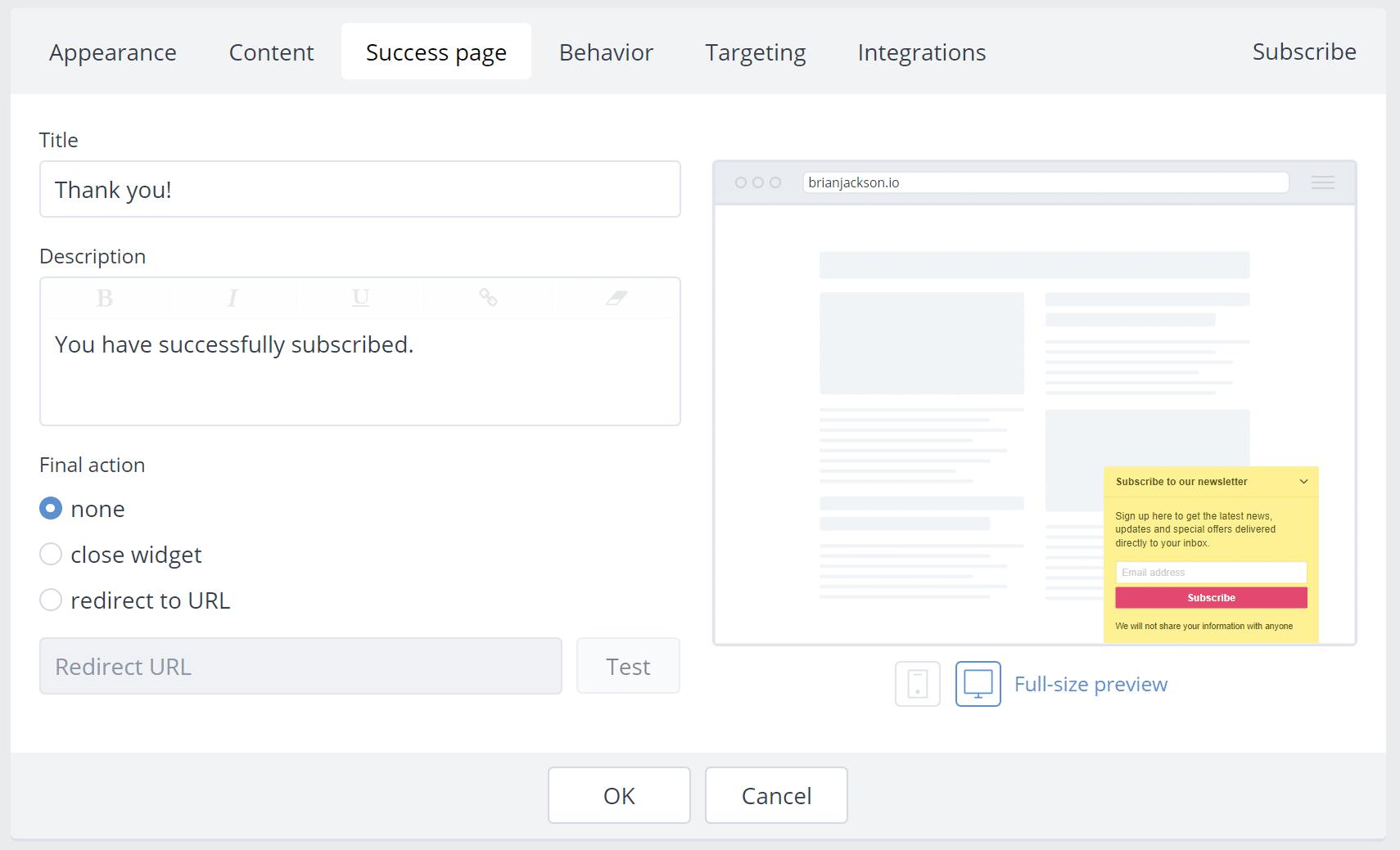Subscribe widget success page