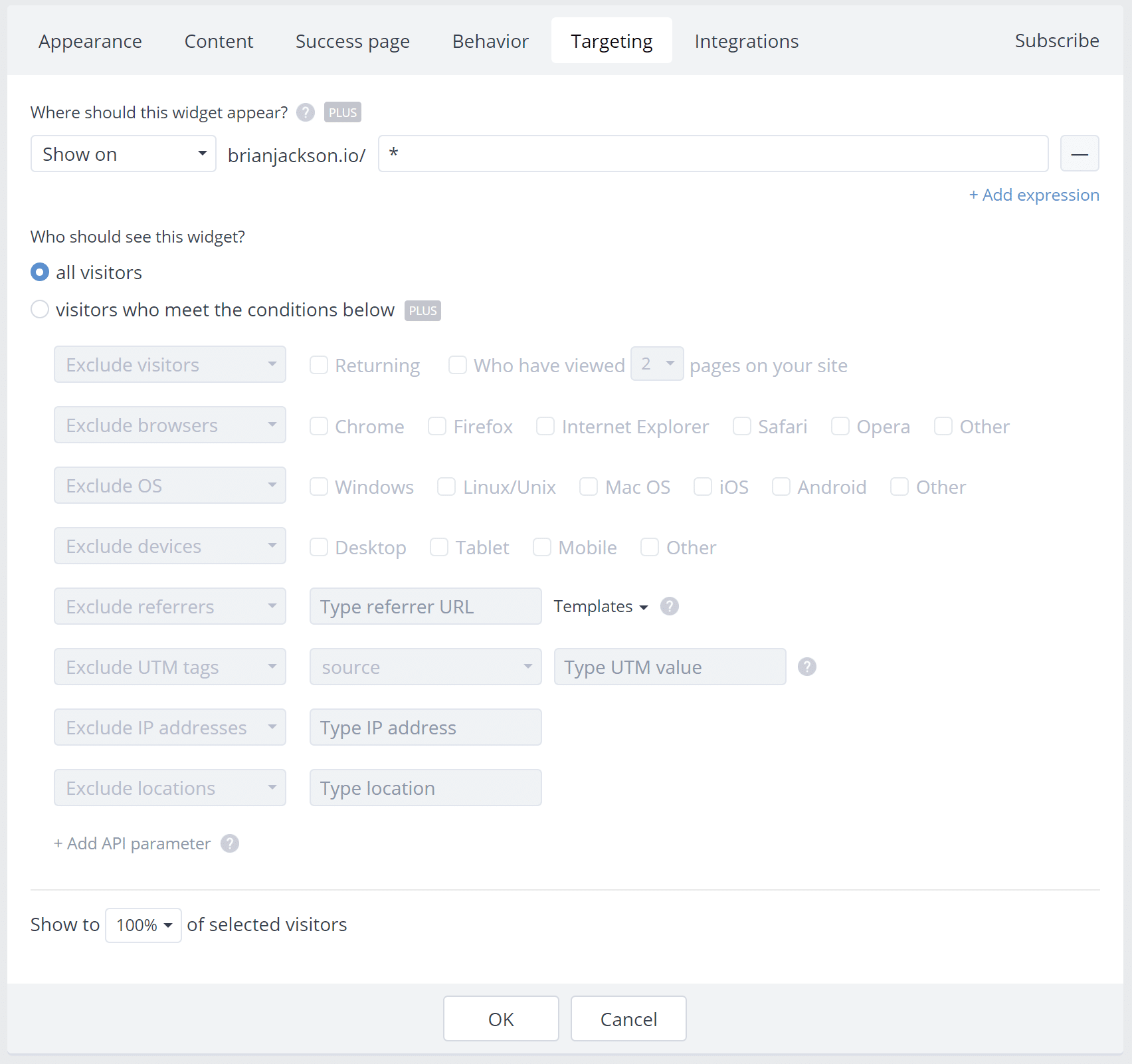Subscribe widget targeting