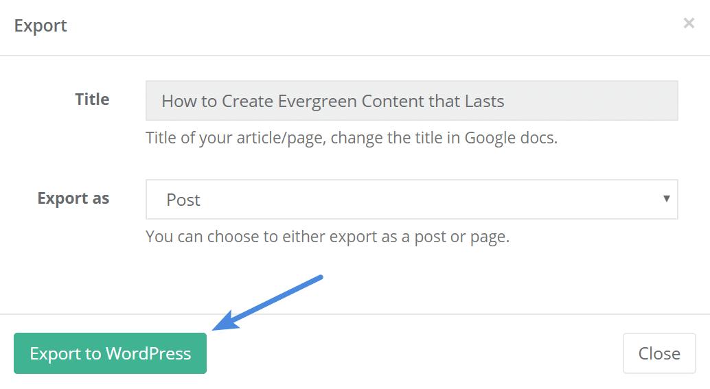 Wordable export to WordPress