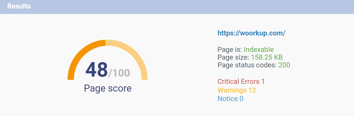 SEO page score